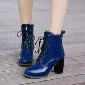 Women shiny High Block Heel Lace Up Zip Patent Leather Fashion Ankle Boots Shoes