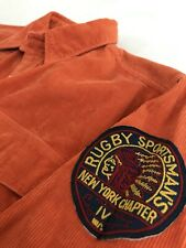 Vtg Rugby Polo Ralph Lauren Indian Patch Orange Corduroy Long Sleeve Shirt S