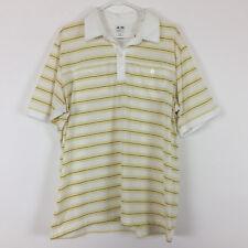 Adidas Mens Polo Shirt XL Stripes White Yellow Short Sleeve Clima Cool