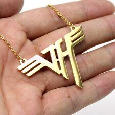 VH Charm Eddie Van Halen Logo Gold Plated Stainless Steel Pendant Necklace