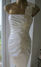 Jane Norman Size 6 White Gold Lace Floral One Shoulder Wedding Bodycon Dress