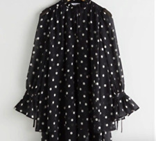 & other stories mini polka dot smock dress size 2