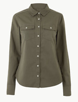 NEW Ex M&S Ladies Khaki Military Stretch Cotton Shirt Long Sleeve Sizes 6 - 22