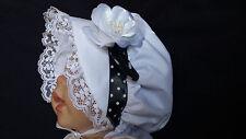 Baby Toddler Girls  Prairie Style White Rose Bonnet /Sun Hat    3-12M  1-3 years