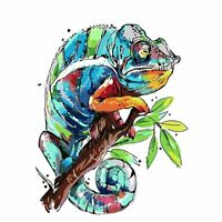 Colorful Chameleon Abstract Watercolor Painting Art Print by Artist DJ Rogers