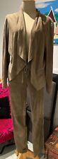 Suede trouser suit Sage green/brown elastic waist, fit 12