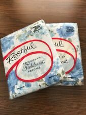 Vintage in Package Percale Blue Floral Double Flat Sheets Cotton Mid Century