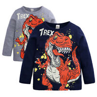 Toddler Baby Boys Dinosaur T-shirt Tops Casual Spring Kids Cotton Shirt Clothes