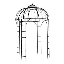 Metall Pavillon Malcesine Rankhilfe Gartenlaube Spalier Ø 2 m schwarz 14261
