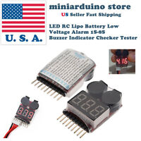 LED RC Lipo Battery Low Voltage Alarm 1S-8S Buzzer Indicator Checker Tester USA