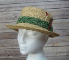Vintage circa 1960's Straw Golf Hat turf band and clubs on side Made in Italy XS