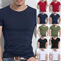 Hombre Ajustado Tops De Algodón Camiseta Casual manga corta O / cuello en V
