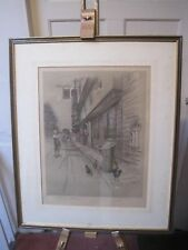 """Cecil Aldin Print Old English Inns """"The Bell""""  Signed blind stamped"""