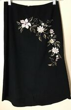 B Moss Women's Skirt Embroidered Stretch High Low  Floral Size 4