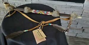 Vtg Native American Indian PEACE PIPE Beads Auth Apache Hanging Tag Signd Antler