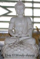 58cm Dehua White Porcelain Shakyamuni Sakyamuni Amitabha Buddha Lotus Statue