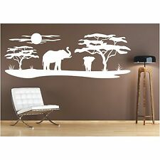 Landschaft Wandtattoo  Elefanten Afrika Affenbrotbaum Savanne Wandaufkleber 1