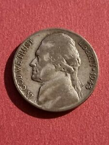 1943-P Five 5 cents USA Jefferson Wartime Silver Nickel