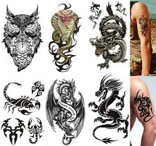 6 pcs Temporary Tattoo Stickers Arm & Chest Body Art Dragon Owel Scorpion Cobra