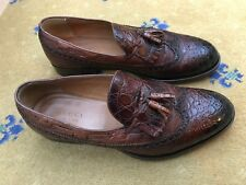 Gucci Mens Shoes Brown Leather Ostrich Loafers UK 11 US 12 EU 45 Tassel 295177