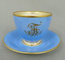 (K379) KPM Monogramm Tasse 'FA' mit Untertasse, hellblauer Fond, 19. Jahrhundert