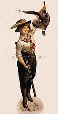 ANTIQUE REPR0 PHOTO PRINT WOMAN PHEASANT HUNTING DOUBLE BARREL SHOTGUN # 2