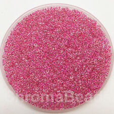 50g glass seed beads - Pink-Lined Rainbow - approx 2mm, size 11/0, craft