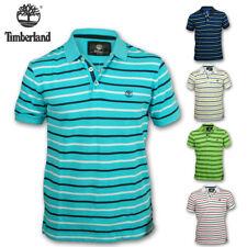 Mens Polo Shirt Timberland Designer T Shirt Top Stripe Print Short Sleeve