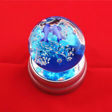 "10.6OZ 2.4"" Lover Blue Fish Sea Art Glass Ball Paperweight Glow In Dark + Base"