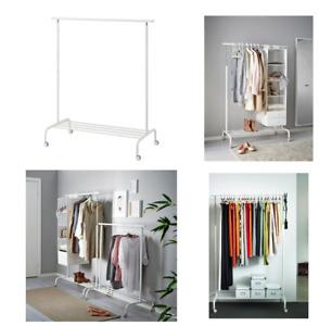 IKEA Rigga Guardaroba da Pavimento Supporto Vestiti Con Ruoli Bianco Nuovo