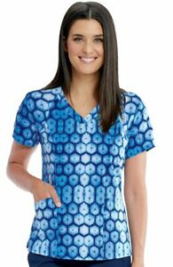 """Barco One Scrubs #5107 V-Neck Print Scrub Top in """"Cool Blues"""" Size S"""