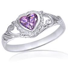 Silver ring size 1 CZ Kids Heart cut Baby Girl Amethyst New 925