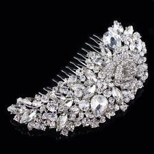 Rhinestone Crystal Hair Comb Headpieces Bridal Wedding Accessory Rose Flower