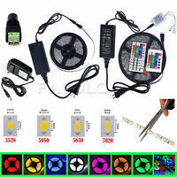 5M 10M SMD 3528 5050 5630 7020 300LED RGB White LED Strip Light 12V Power Supply