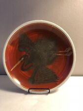 "HANDPAINTED 10"" CHINESE STONEWARE PLATE WITH IMAGE OF BLACK PELICAN BIRD"