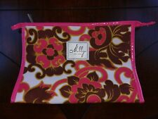 Milly for Clinique Make Up Bag Cosmetic Case Zipper Pink Brown Flower Floral