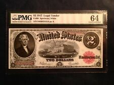 1917 $2 US Large Red Seal Legal Tender Note - FR 60 - PMG 64 Choice Uncirculated