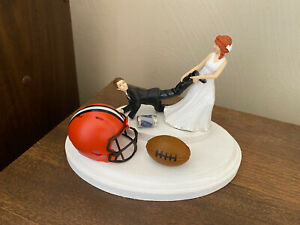 Cleveland Browns Cake Topper Bride Groom Wedding day NFL Funny Football Theme
