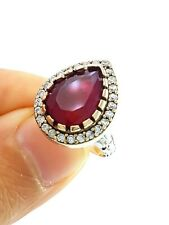 STERLING 925 SILVER SIZE 6.5 RUBY RING TURKISH HANDMADE JEWELRY R2203
