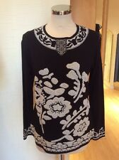 Olivier Philips Sweater Size 14 BNWT Black Winter White Floral RRP £134 Now £59