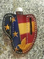 Leather Pancake Pocket Knife Case Sheath Handmade in Texas  American Flag Pray