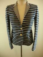 Womens sz 4 J.Crew Schoolboy Nautical Stripe Navy Blue Ivory Jacket Blazer Linen