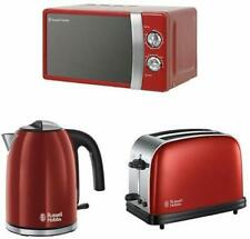Russell Hobbs Kitchen Set in Red - Microwave, Kettle,  2-Slice Toaster