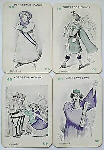 ANTIQUE PLAYING CARDS CARD GAME PANKO SUFFRAGETTE REED GURNEY 48 CARDS 1909