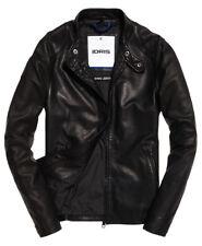IDRIS ELBA x SUPERDRY Men s Ultra Lite Slim Leather Jacket, Black, size  Medium 031d311c1e
