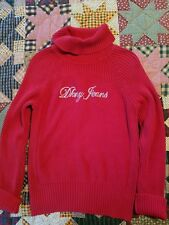 DKNY ~~ RED TURTLE-NECK SWEATER ~ 99% COTTON ~ WOMEN'S SIZE L ~~ FREE SHIPPING!!