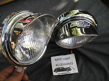 NEW SET OF SMALL 12 - VOLT VINTAGE STYLE CLEAR COLOR FOG LIGHTS WITH VISORS B/T