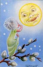 Standing on Puzzy Willows Moon vintage Art