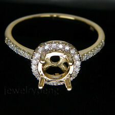 Round 6.5mm 14Kt Yellow Gold 0.30Ct Diamond Setting Engagement Semi-Mount Ring