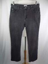 LEE RIDERS Women's Sz 16 Relaxed Fit Stretch Black Denim Jeans 36 x 31 Distress